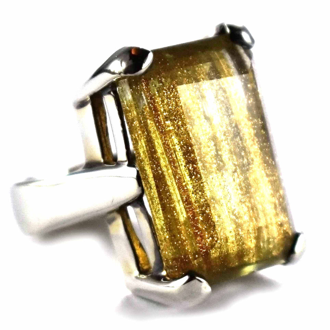 Rectangle blonde crystal silver ring