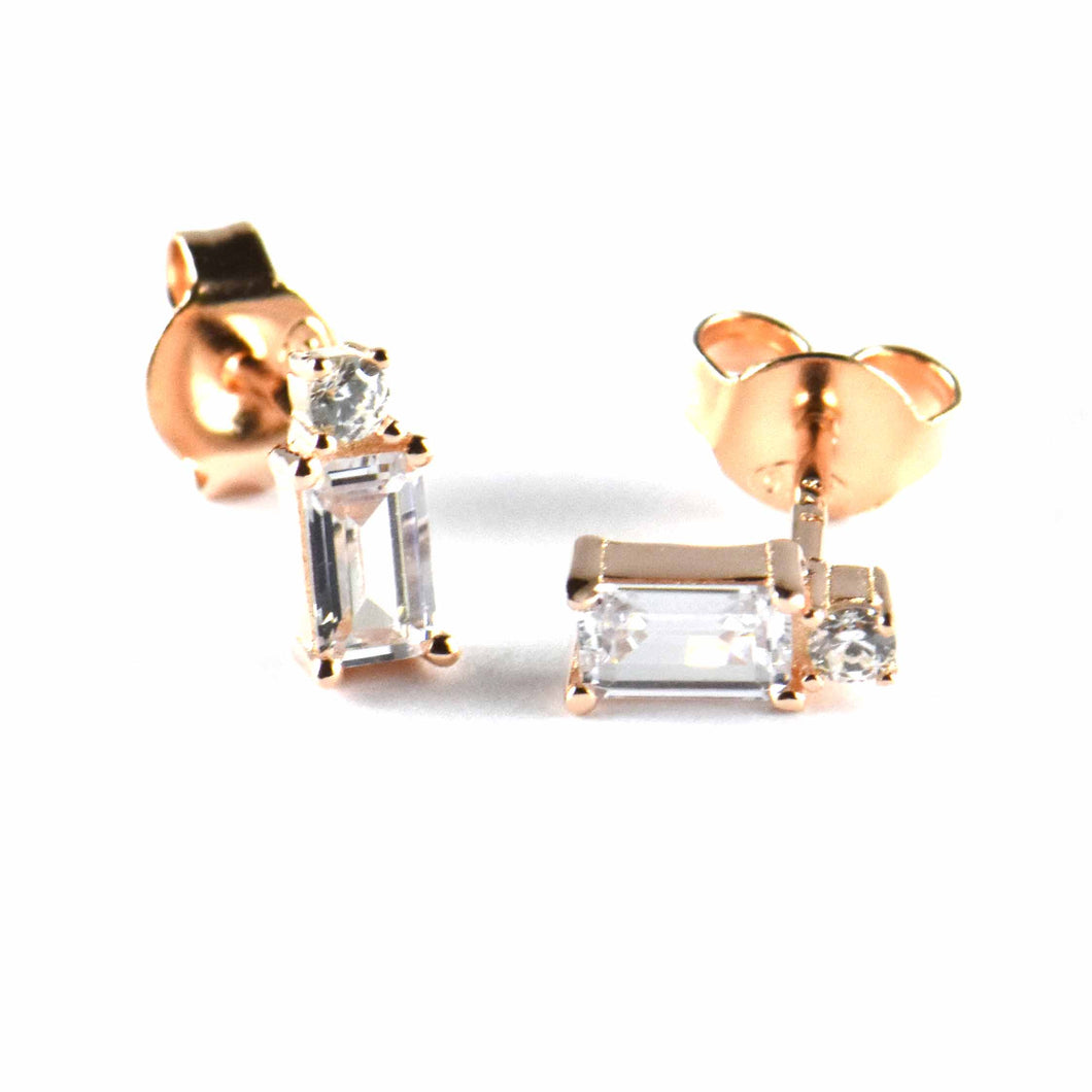 Rectangle & circle white CZ studs silver earring with pink gold plating