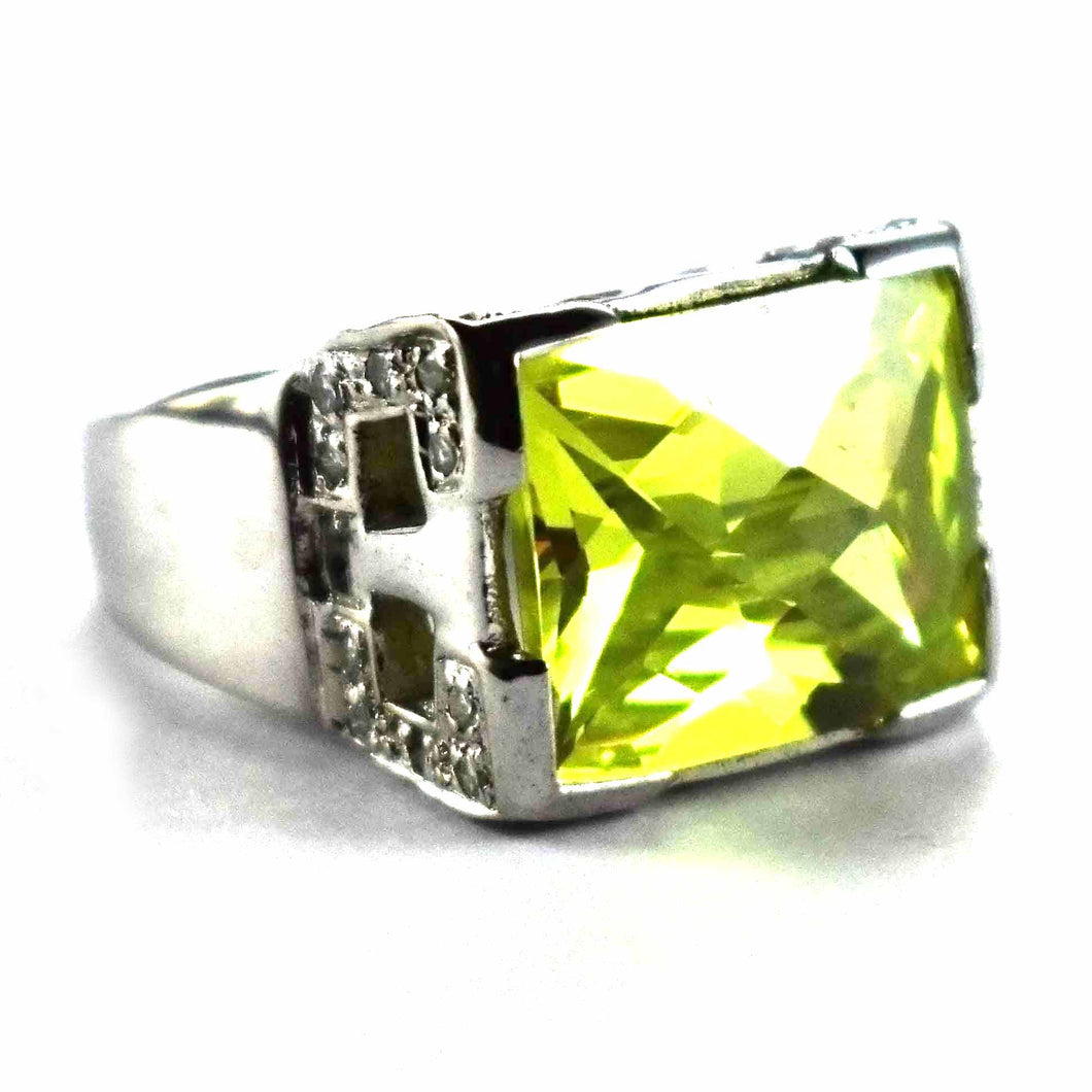 Rectangle green cubic zirconia silver ring