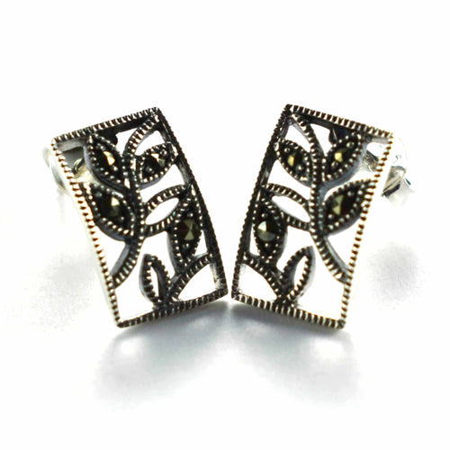 Rectangle silver earring with leaves pattern & marcasite