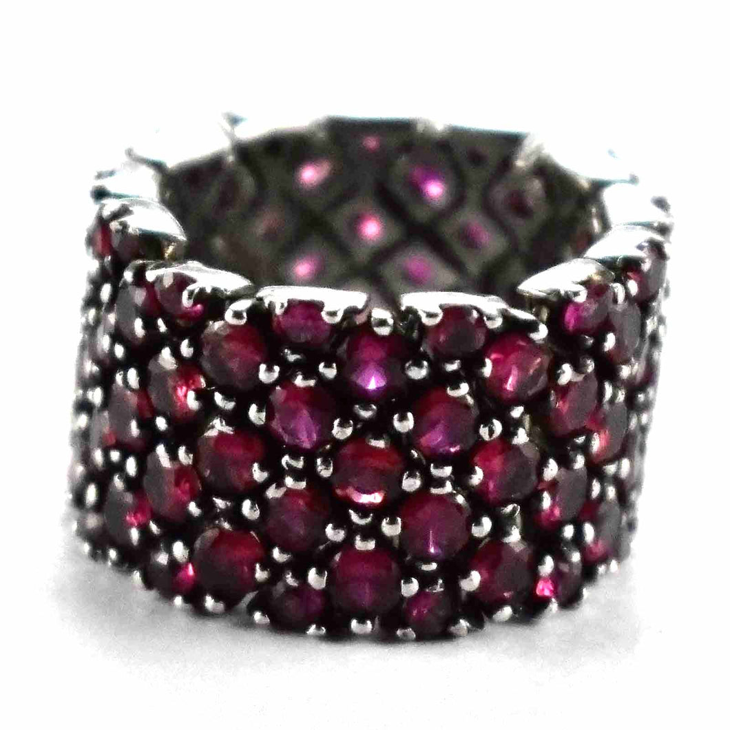 Red cubic zirconia with black rhodium silver rng