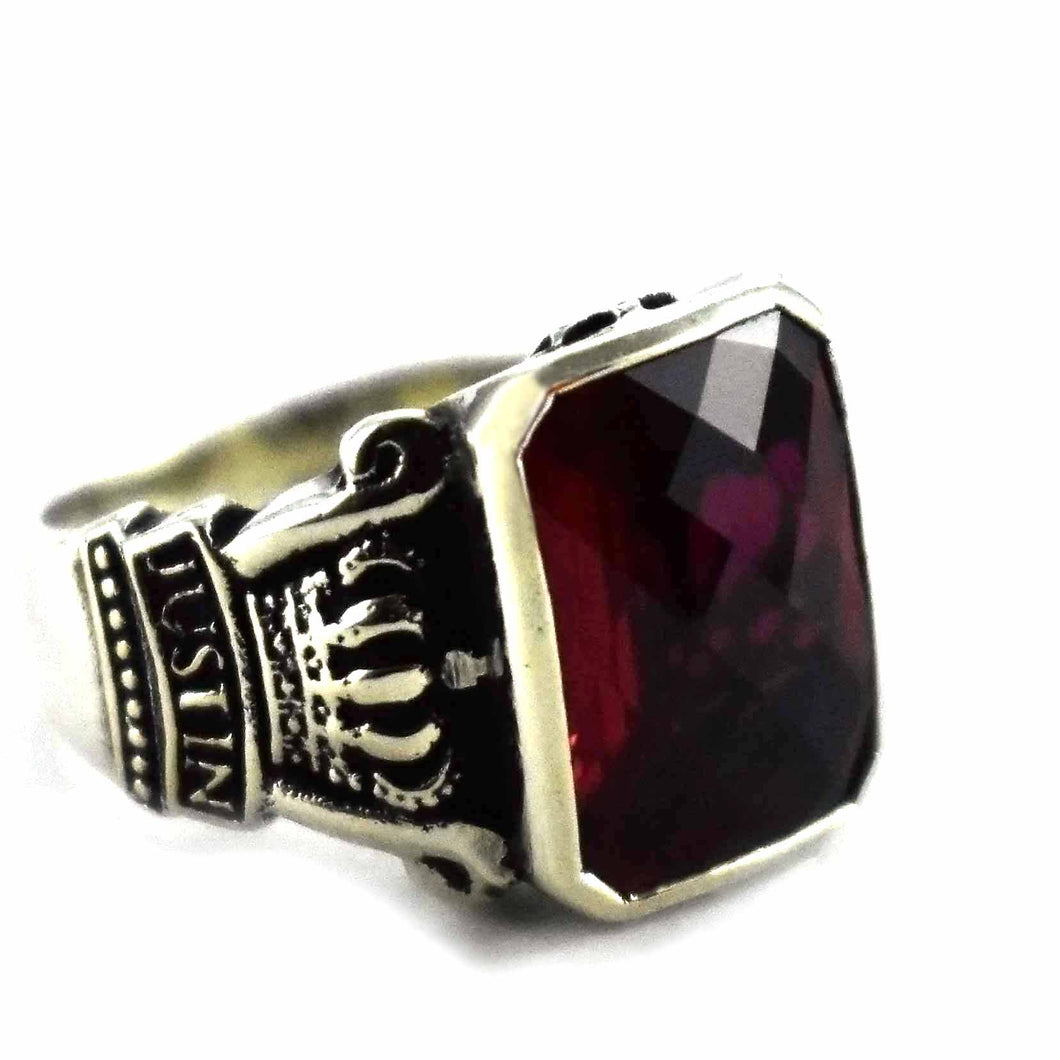 Red cubic zirconia with crown pattern silver ring