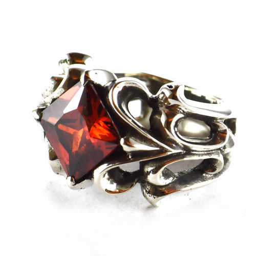 Red square CZ silver ring