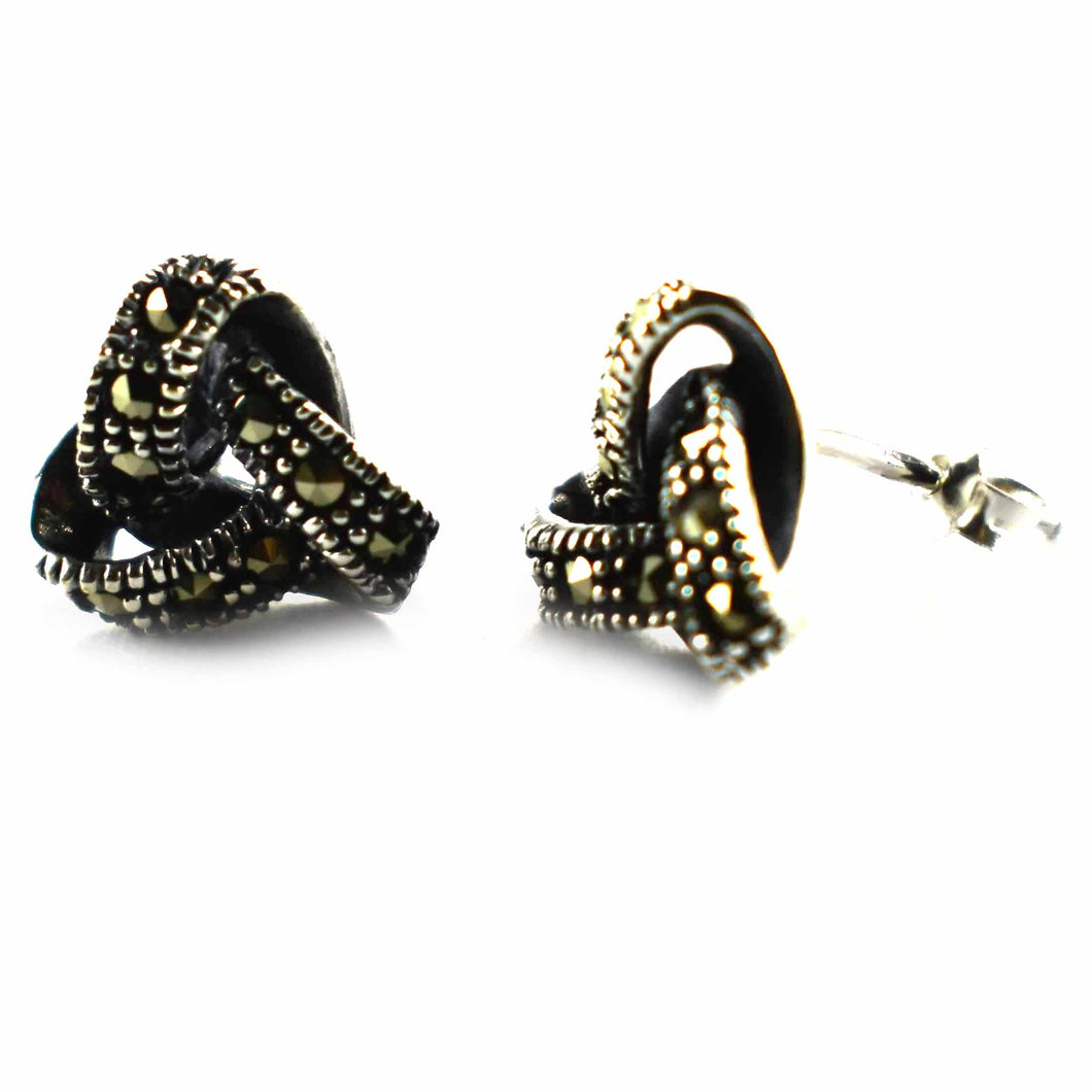 Ribbon silver studs earring with marcasite