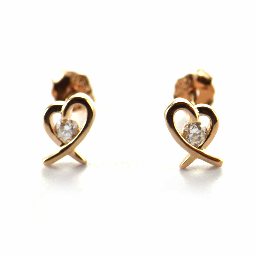 Ribbon heart silver earring with pink gold plating