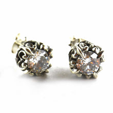 Rivet silver studs earring with white CZ