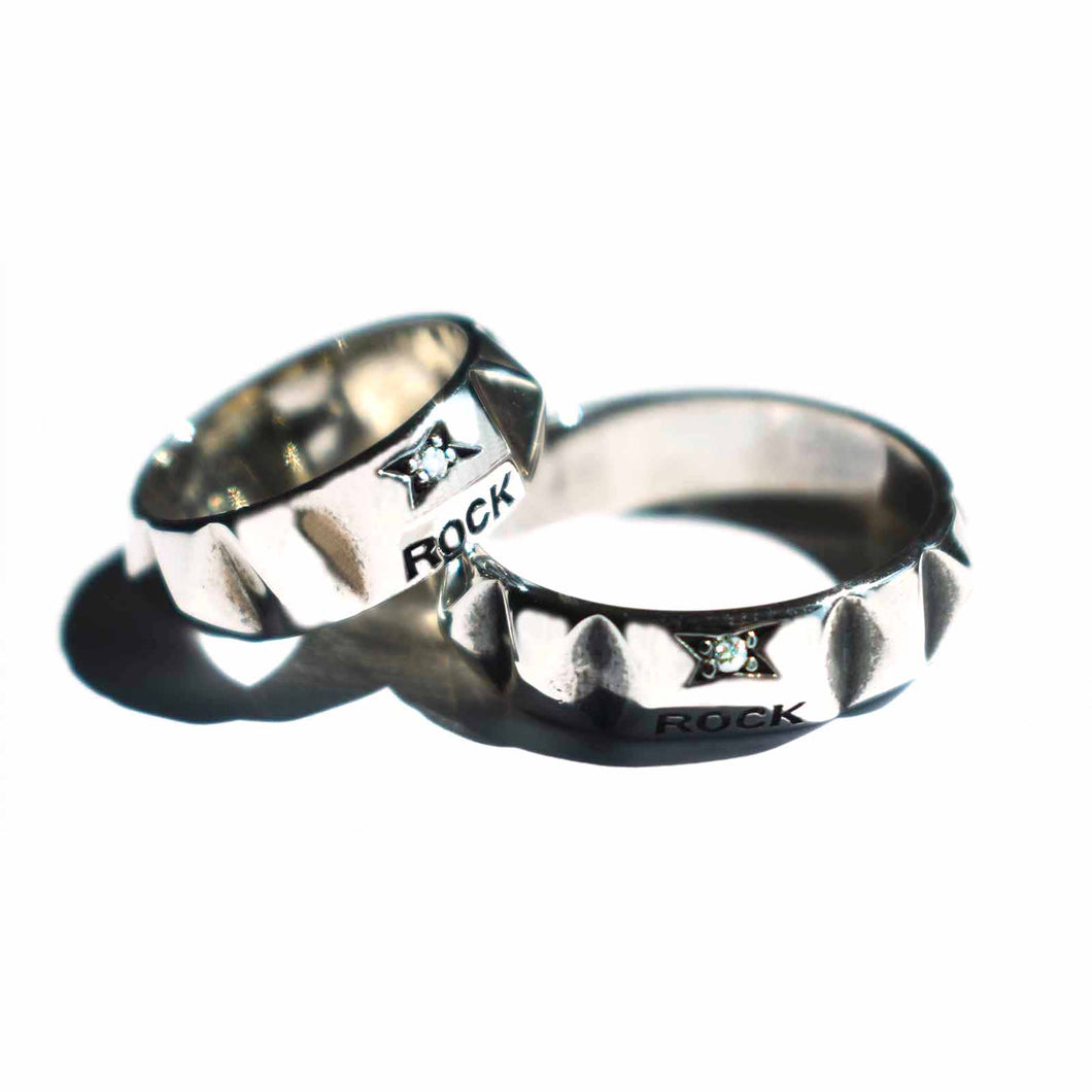 Rock silver couple ring