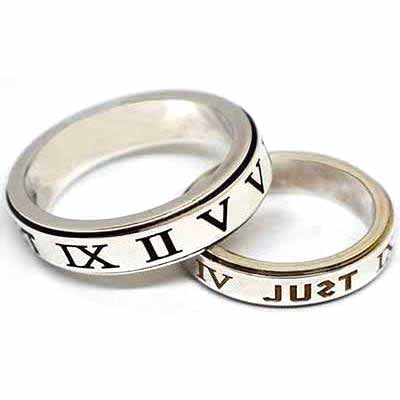 Roman numerals silver couple ring