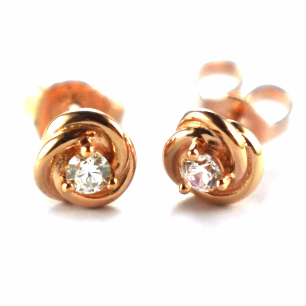 Rose earring with pink gold plating & white CZ
