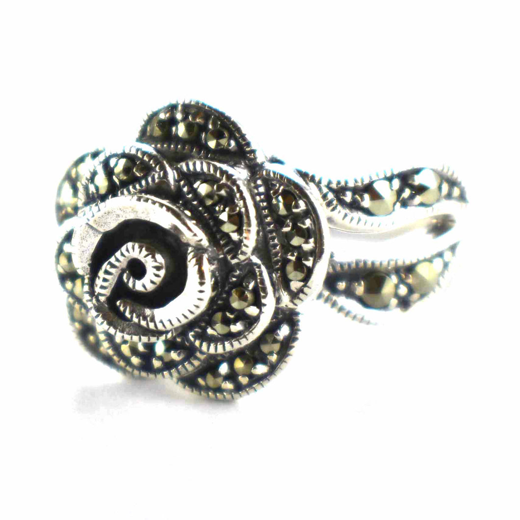 Rose silver ring with marcasite & silver oxidize