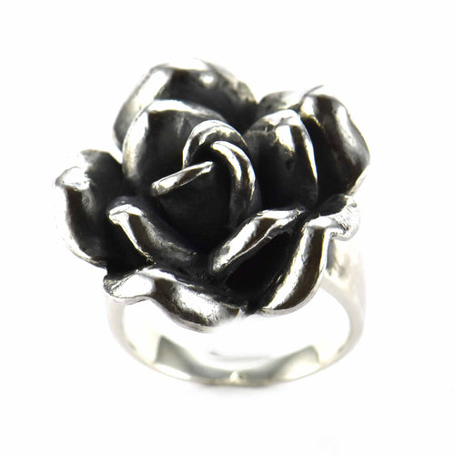 Rose silver ring with oxidizing