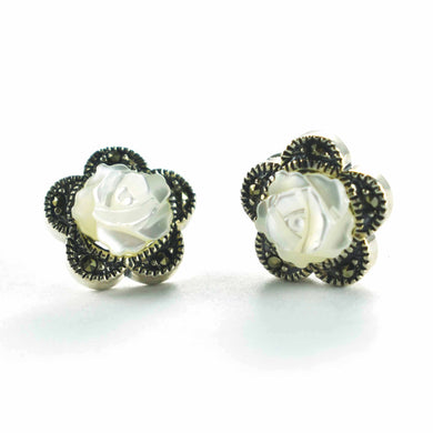 Rose studs silver earring with mother of pearl & marcasite