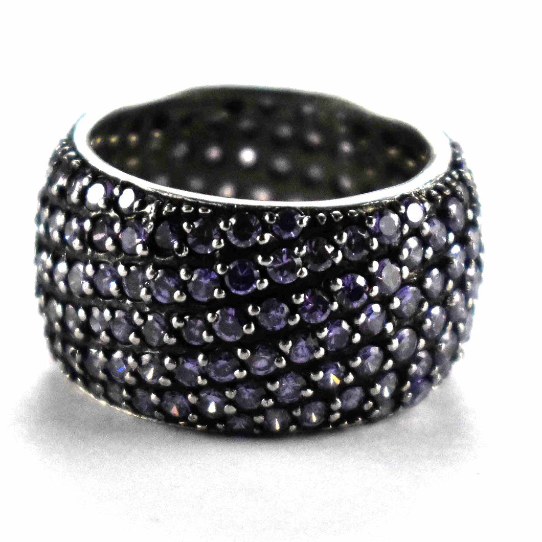 Round of deep purple cubic zirconia silver ring