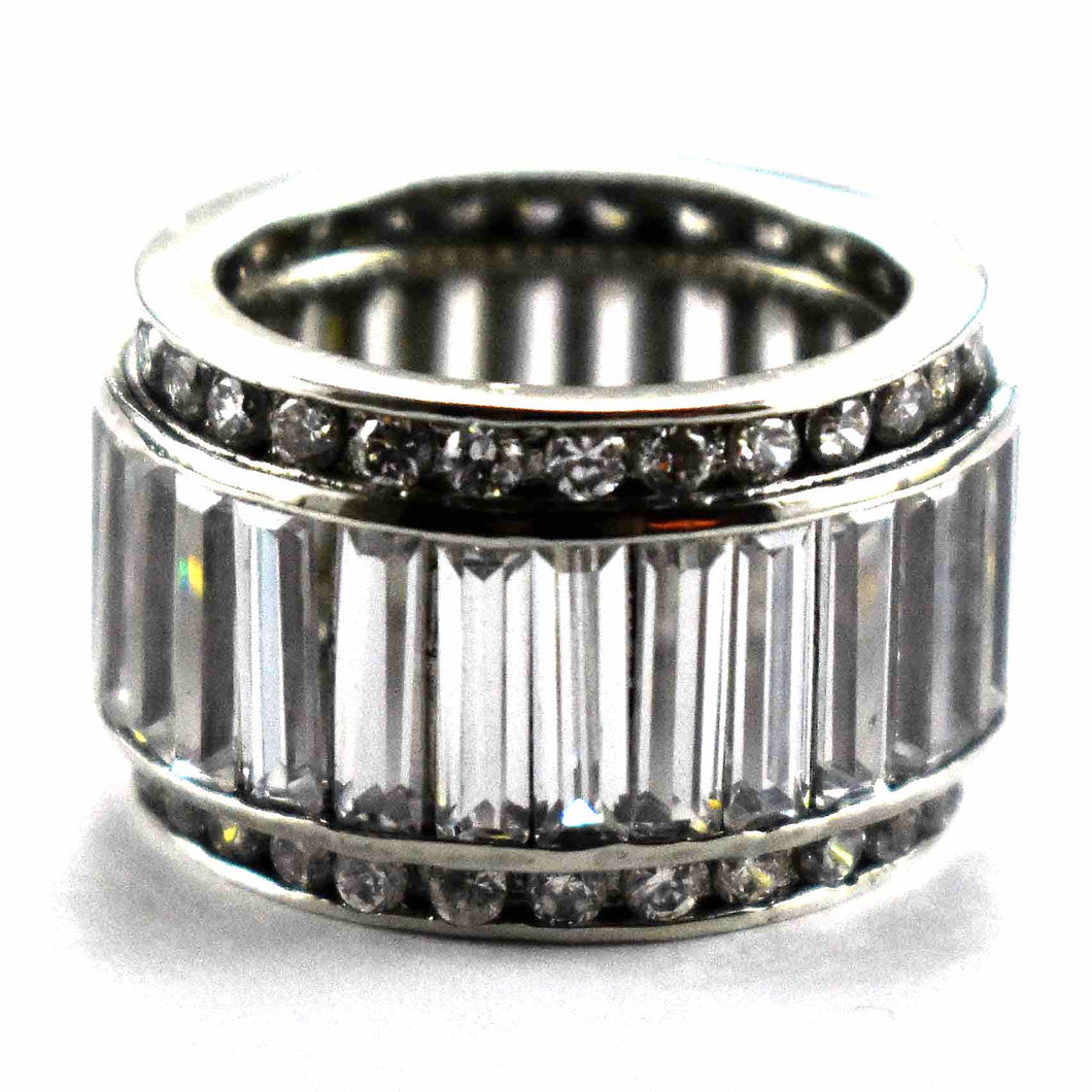 Round of rectangle cubic zirconia silver ring