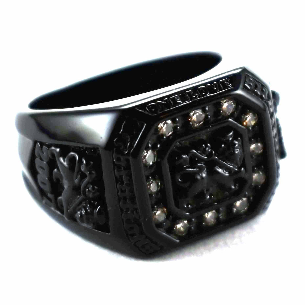 School ring with matte black plating silver ring