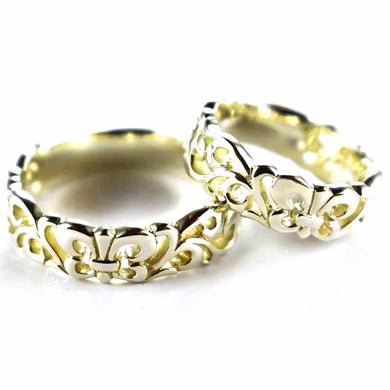Scout & Lace pattern silver couple ring