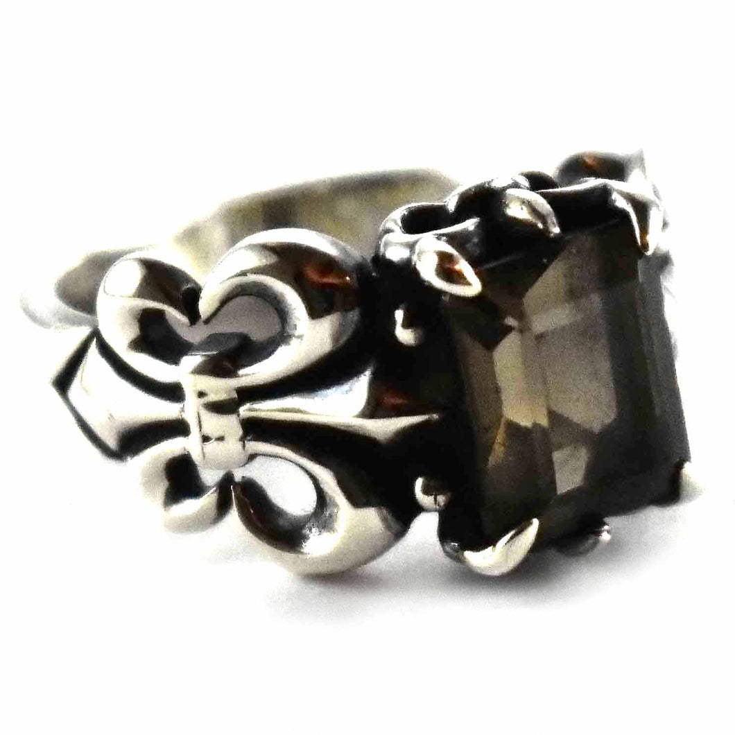 Scout pattern with square gray cubic zirconia silver ring