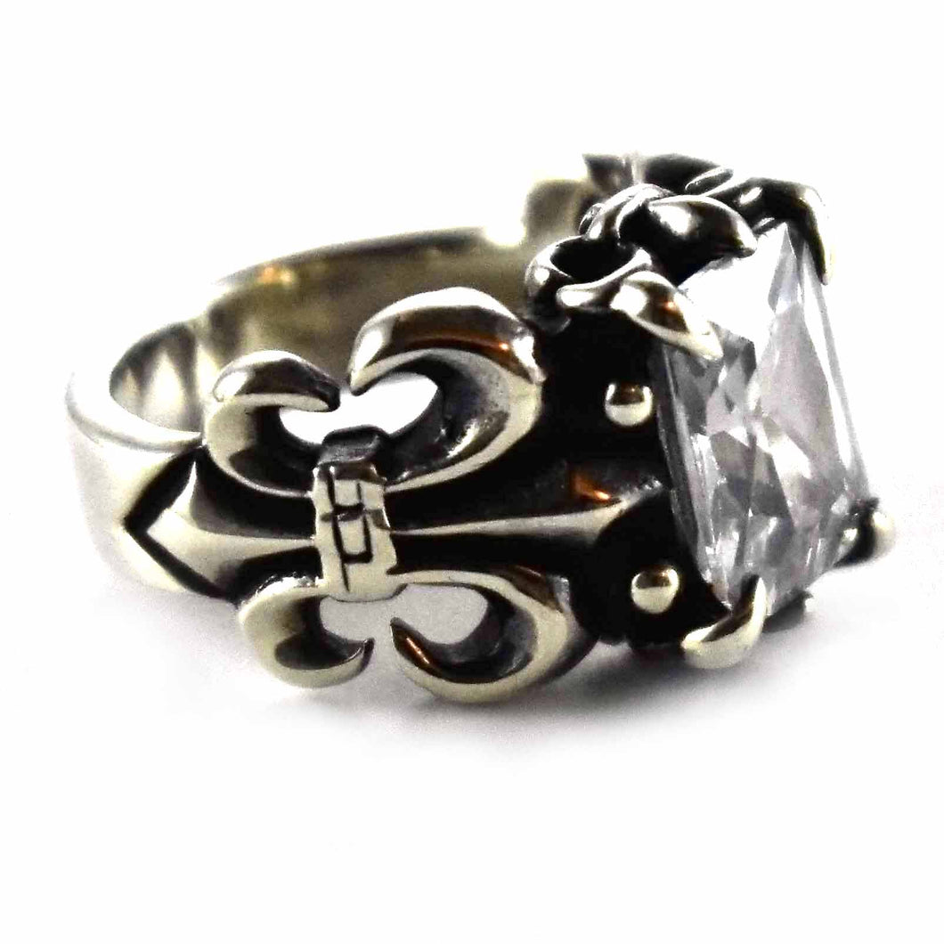 Scout pattern with square white cubic zirconia silver ring