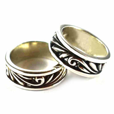 Seagrass & Lace pattern oxidizing silver couple ring