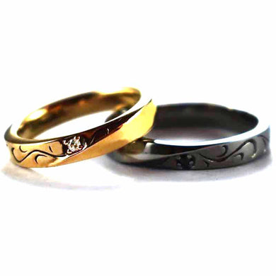 Seagrass pattern with pink gold & black rhodium silver couple ring
