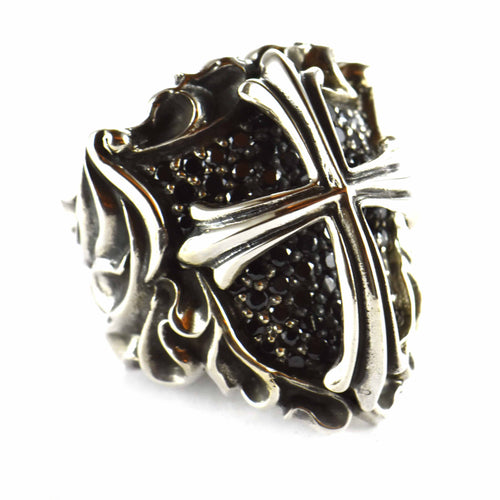 Shield & cross silver ring with black CZ