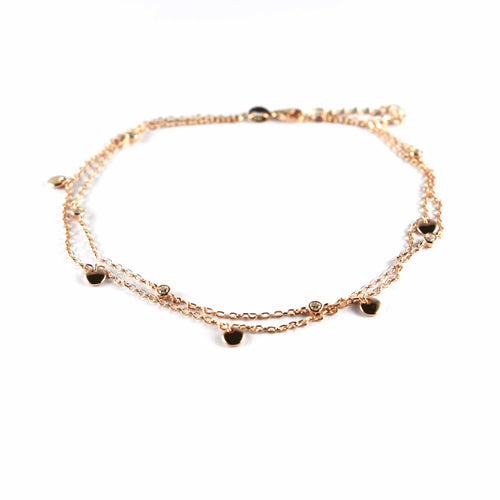 Silver anklet with circle pattern & pink gold plating