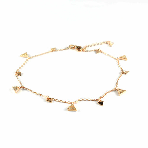 Silver anklet with triangle pattern & pink gold plating
