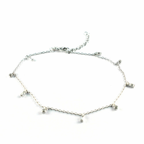 Silver anklet with white CZ