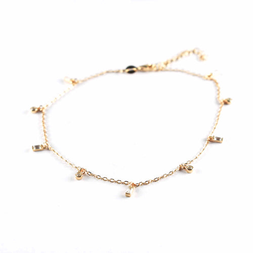 Silver anklet with white CZ & pink gold plating