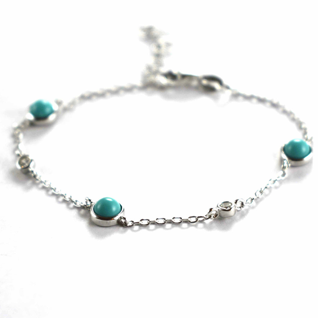 Silver bracelet with turquoise & platinum plating