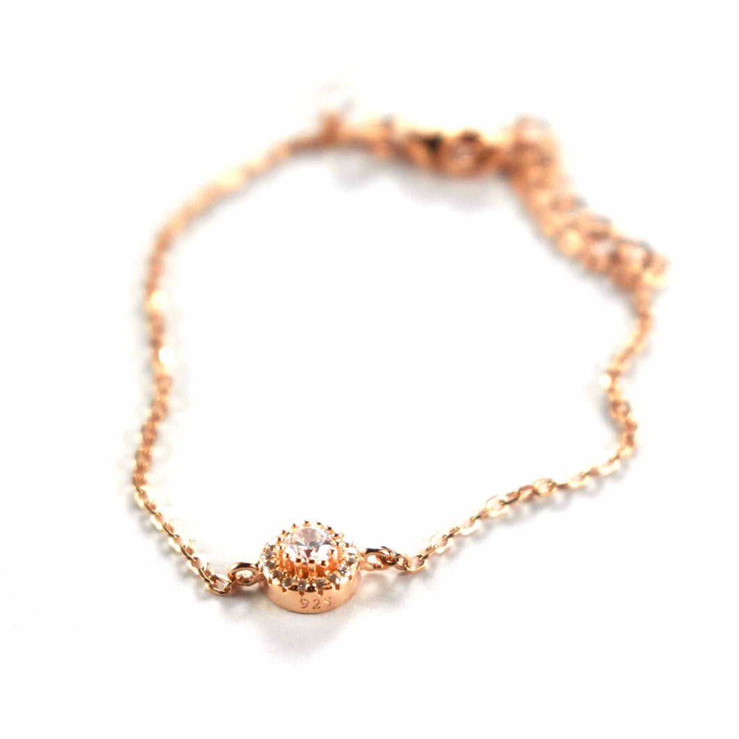 Silver bracelet with white cubic zirconia & pink gold plating