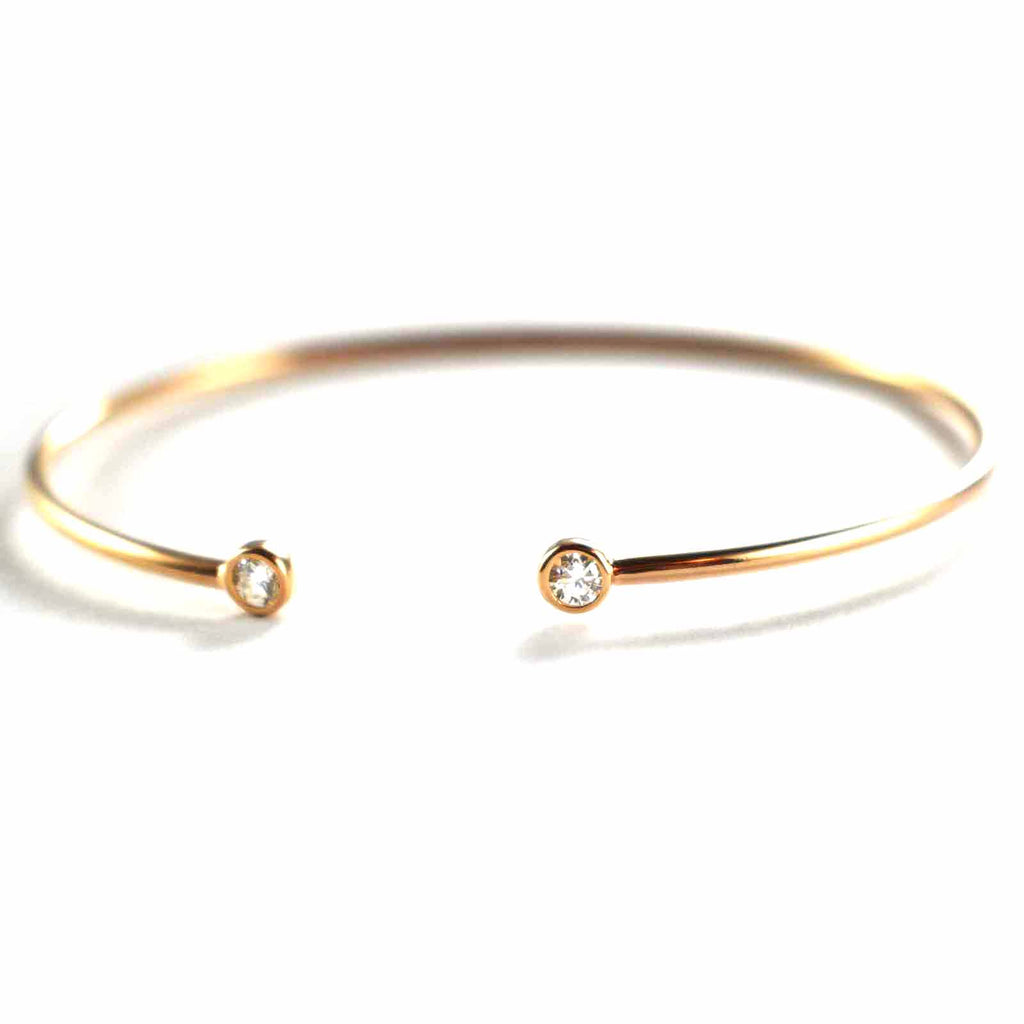 Silver couple bangle with channel set CZ & pink gold plating