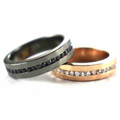 Half round of CZ silver couple ring with black rhodium & pink gold plating