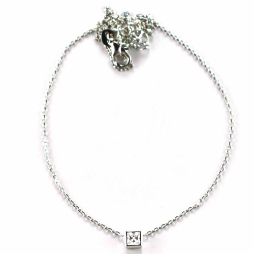 Silver necklace with square CZ