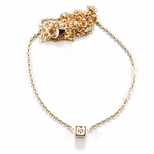 Silver necklace with square CZ & pink gold plating