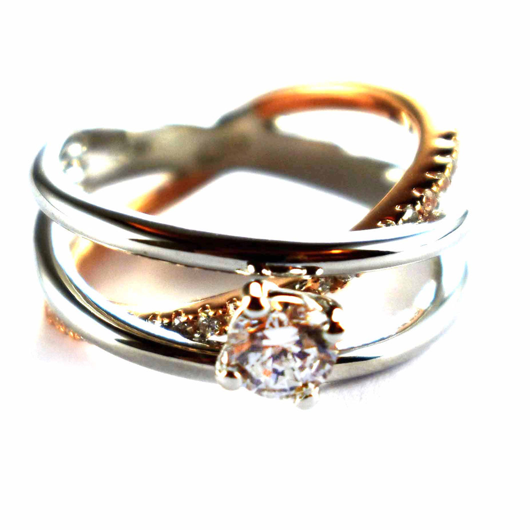 Silver & pink gold plating with white CZ silver ring