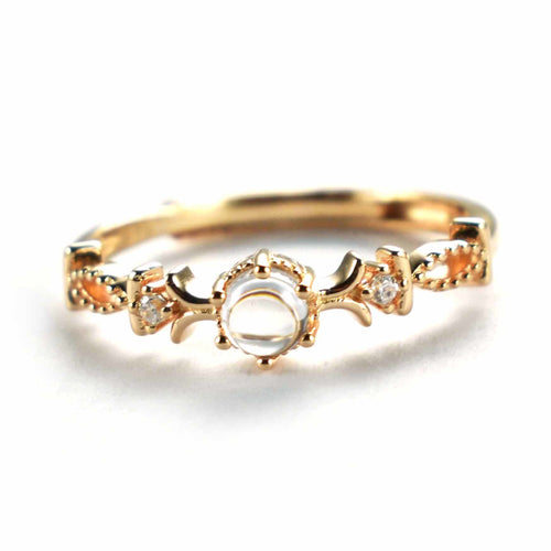Silver ring with crystal & pink gold plating