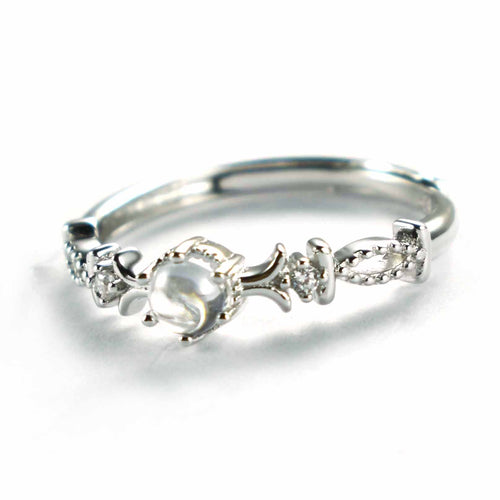 Silver ring with crystal & platinum plating