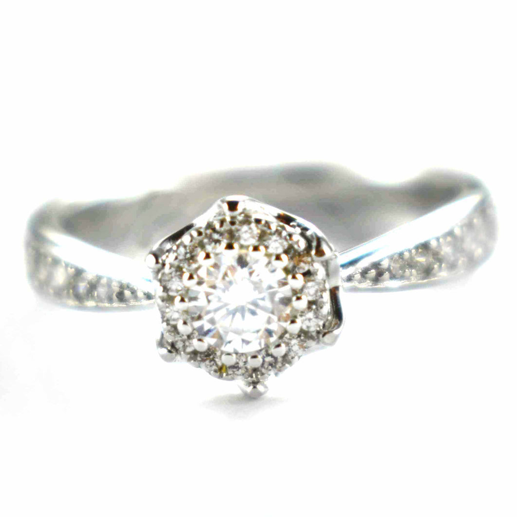 Silver ring with hexagon white CZ & platinum plating