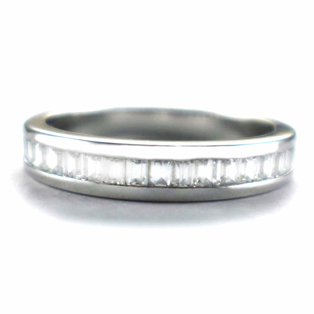 Silver ring with rectangle white CZ