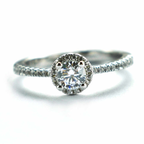 Silver wedding ring with full of white CZ