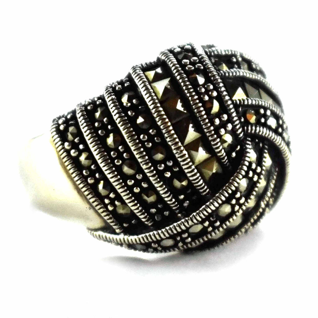 Silver with square marcasite silver ring