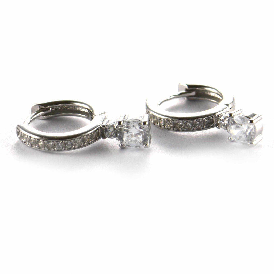 Silver earring with round of white CZ