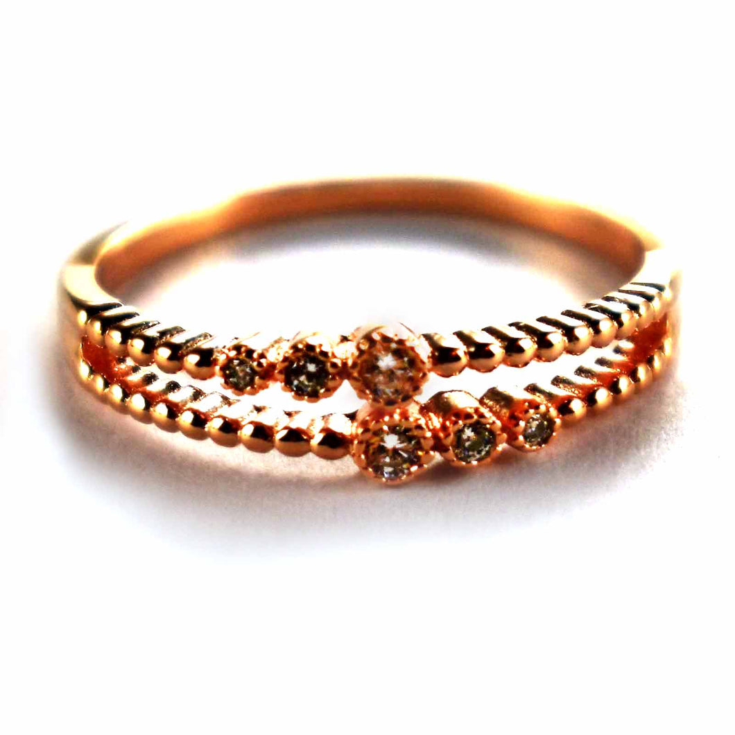 Six stone silver ring with pink gold plating