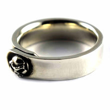 Skull belt shape silver ring