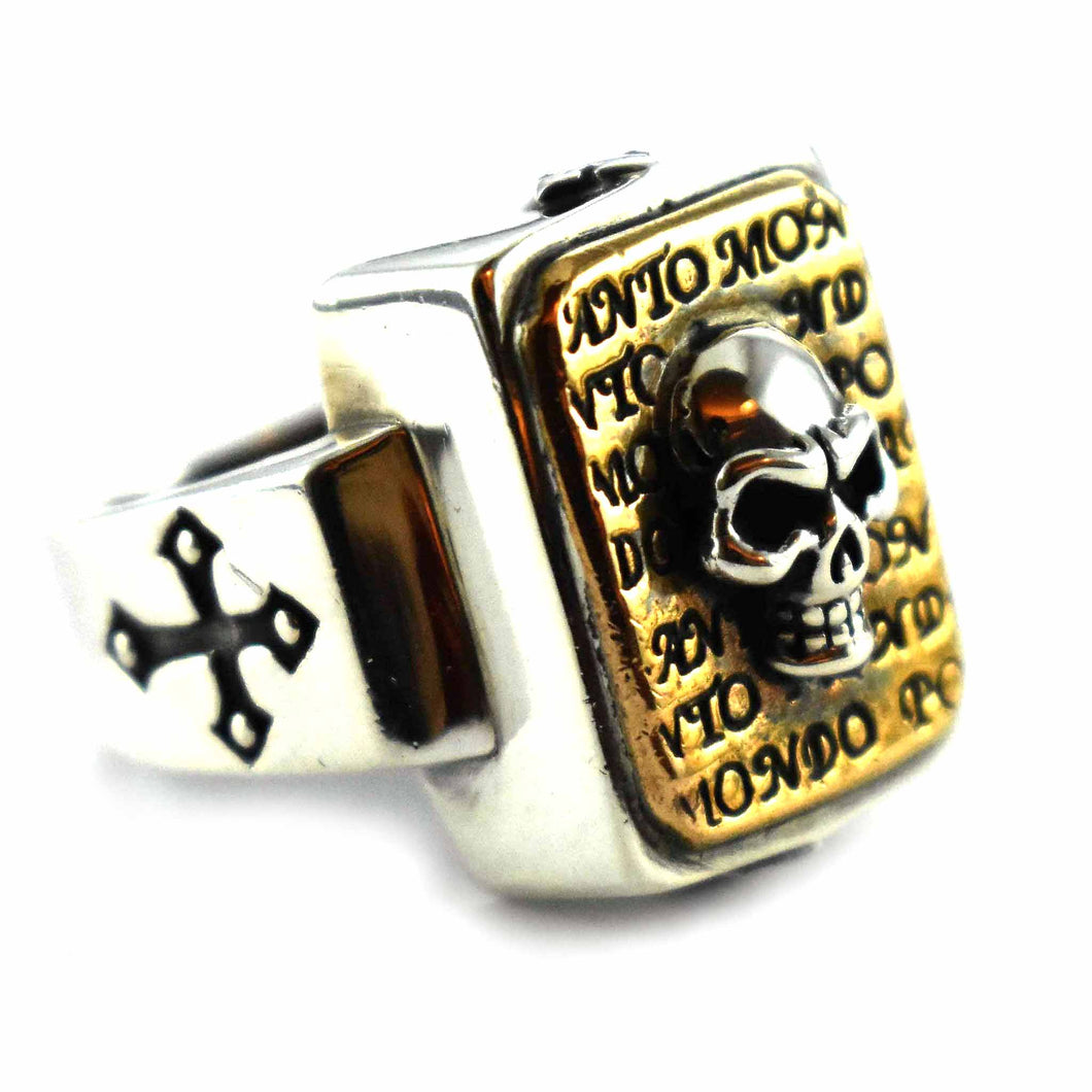 Skull pattern copper plating rectangle silver ring