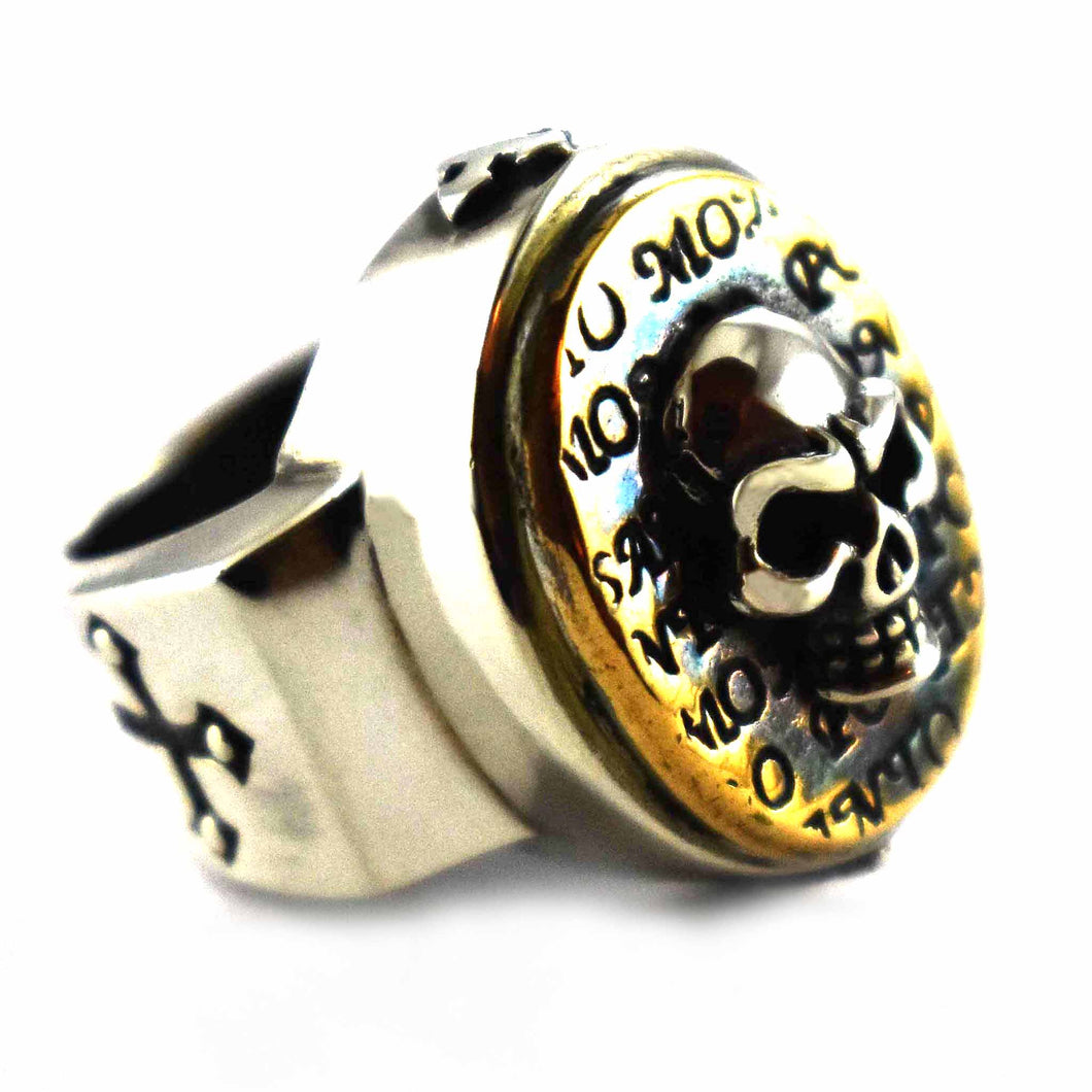 Skull pattern with copper plating oval silver ring