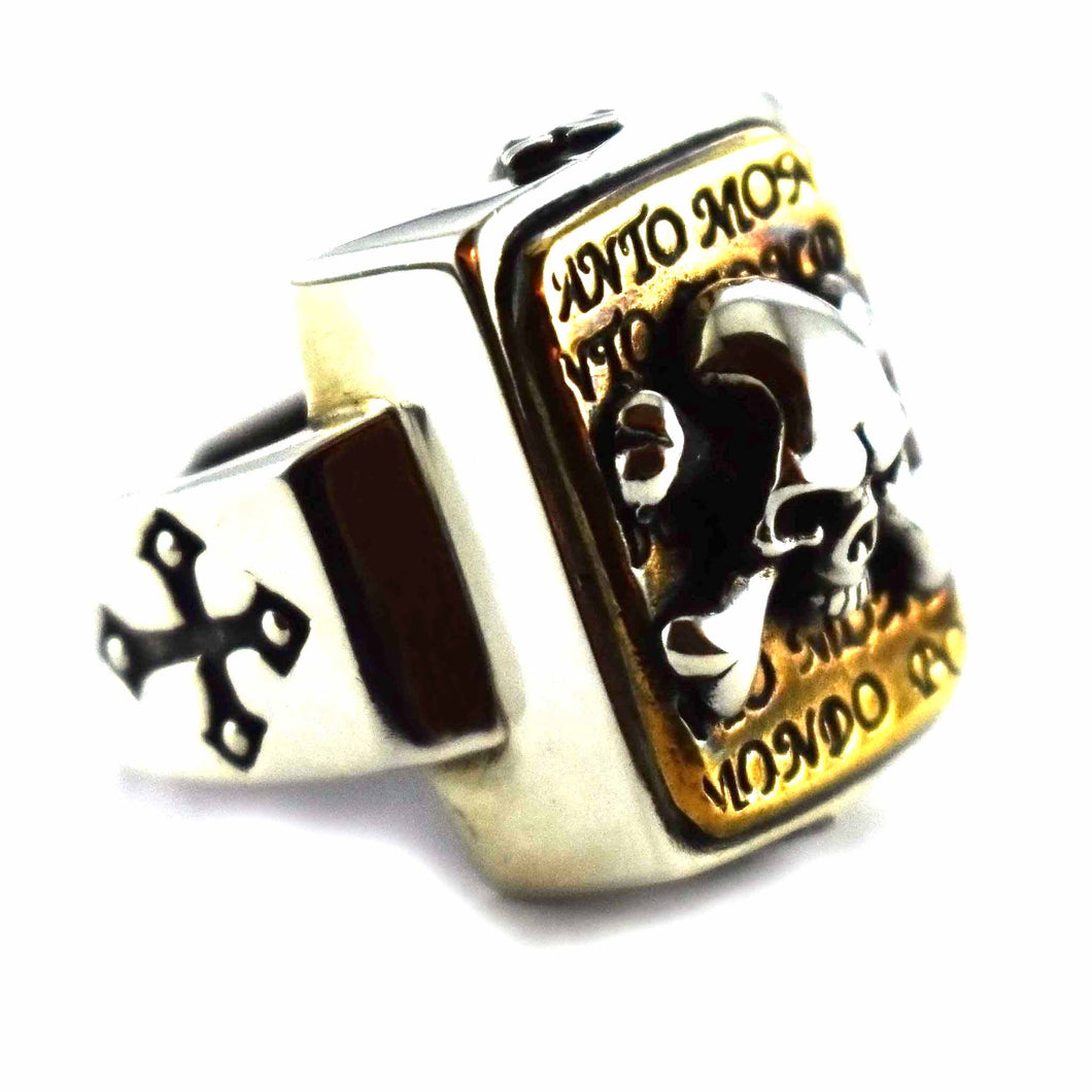Skull pattern with copper plating square silver ring