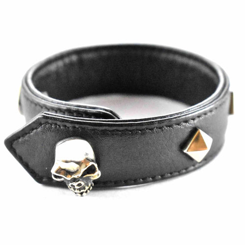 Skull & rivets with leather silver bracelet