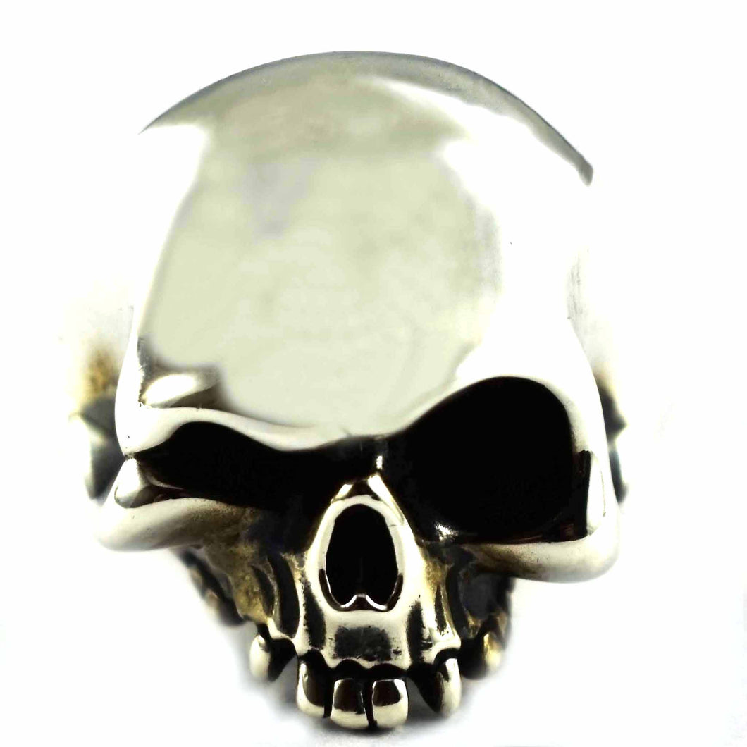 Skull with big brain silver ring